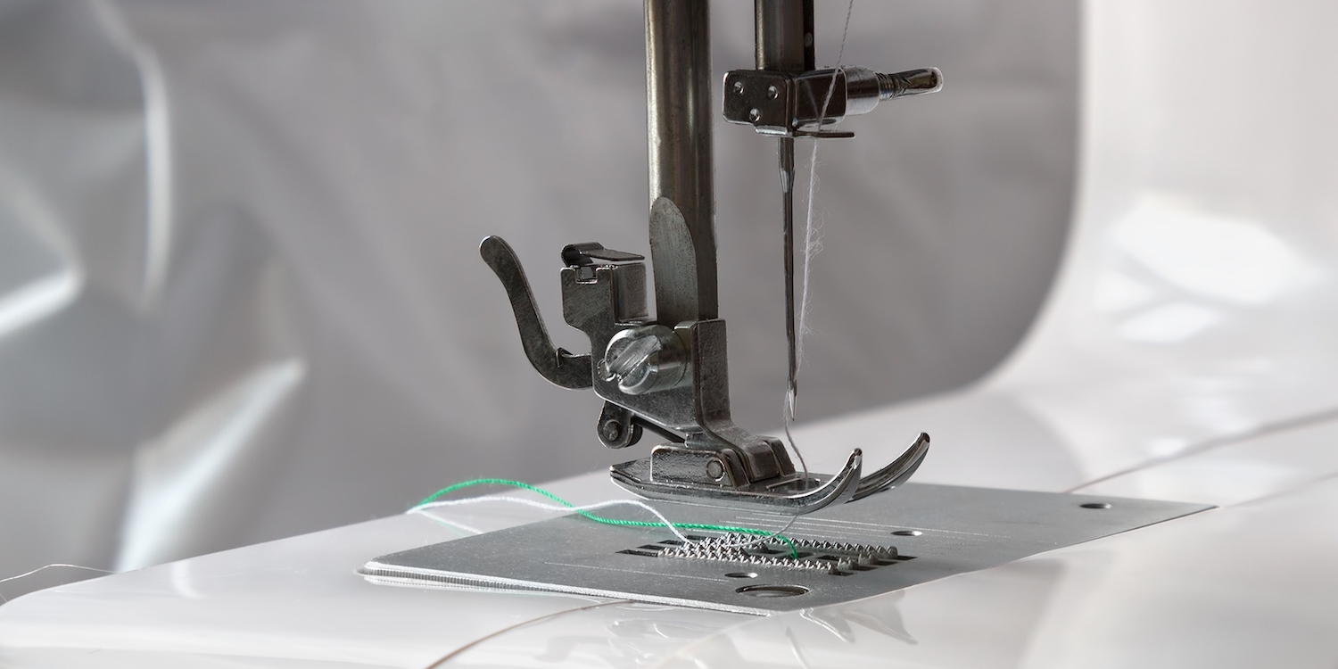 Close up on a sewing machine